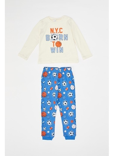 DeFacto Erkek Bebek Baskılı Pijama Takımı Bej